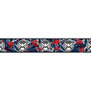 Spiderman-Bleu-Peint-Bordure-Adhesif-5M-Enfants-Chambre-Facile-a-Appliquer