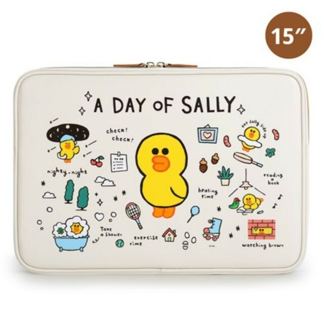 LINE FRIENDS Character BROWN Leatherlike Notebook Laptop Sleeve Pouch 15/""