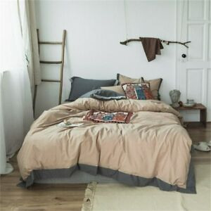 Washed Cotton Owl Duvet Cover Bed Sheet Set Soft Feel Natural 3/4Pcs Bedding Set