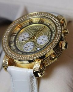 Awesome-Mens-Gold-amp-Diamond-Watch-Roman-dial-Techno-Com-by-Kc