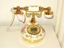 Classical Ceramic Desk Telephone Vintage Button Dial Retro Antique Corded Phone