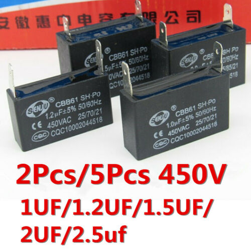 2 ~ 5PCS CBB61 450V 2.5UF 1//1.2//2UF 1.5UF 2PIN Condensador del Motor del ventilador de aire acondicionado