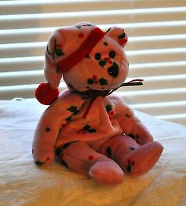 TY BEANIE BABY 1998 HOLIDAY TEDDY CUSTOM DYED PINK BEAR W/ MISTLETOE DESIGN