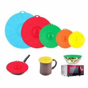 Set-of-5-silicone-Microwave-bowl-cover-cooking-pot-pan-lid-Cover-Silicone-foo-PF