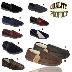 Mens Warm Comfortable Felt Lined Slippers Slip On Mules All Sizes 6 to 12 FIL