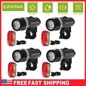 5 LED Lamp Bike Bicycle Front Head Light Rear Safety Flashlight Waterproof Set