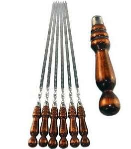 10 Schaschlikspieße mit Holzgriff 70cm hochwertige Grillspieße Schampur