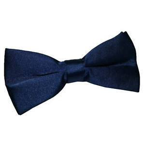 DQT-Satin-Plain-Solid-Navy-Blue-Formal-Classic-Mens-Pre-Tied-Bow-Tie