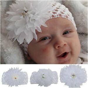Baby-Maedchen-Haarband-Taufe-Kinderhaarband-Stirnband-Haarschmuck-Strass-Blume