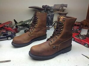2be961ff4fb Details about STEEL TOE JUSTIN MADE IN USA BROWN LEATHER LACE UP ENGINEER  BOSS WORK BOOTS 14D