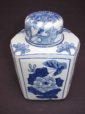 Chinese Blue White Porcelain Butterfly Flower Tea Caddy Lidded Jar