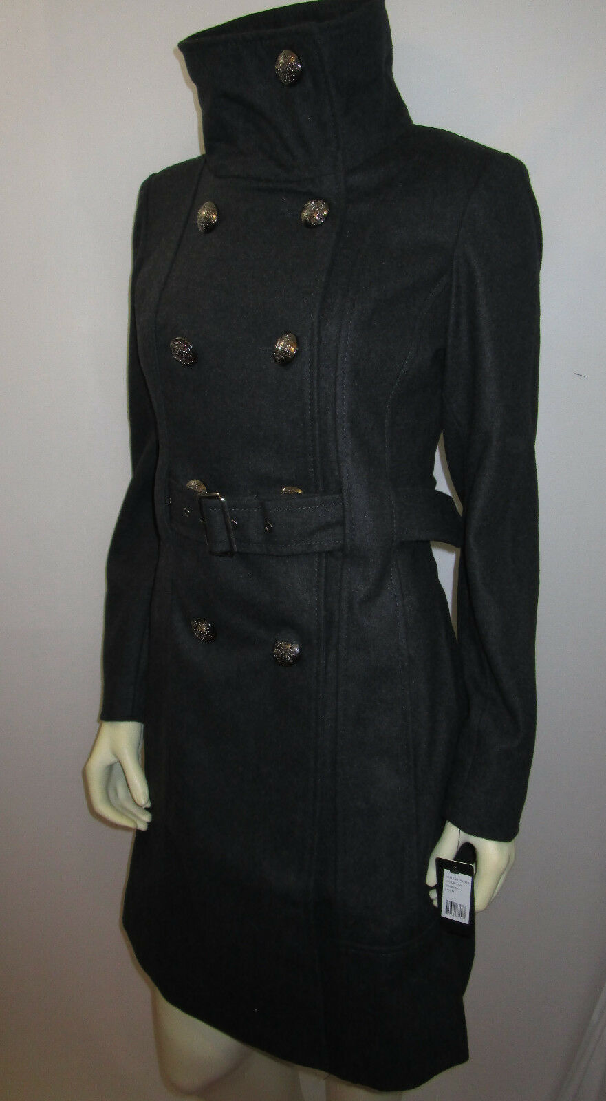 GUESS charcol double breasted belted coat size md NEW WITH TAG