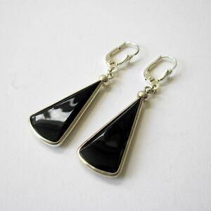 Paar-schwarze-Glasohrringe-Earrings-mit-Silber-ART-DECO-30er-Jahre-Deutschland