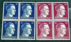 WW2-GERMAN-REAL-3rd-REICH-ERA-2-X-BLOCK-OF-4-STAMPS-A-HITLER-MNH