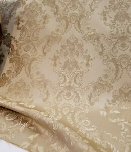 Designer-Brocade-Jacquard-Fabric-54-wide-sold-by-yard-Sand-color