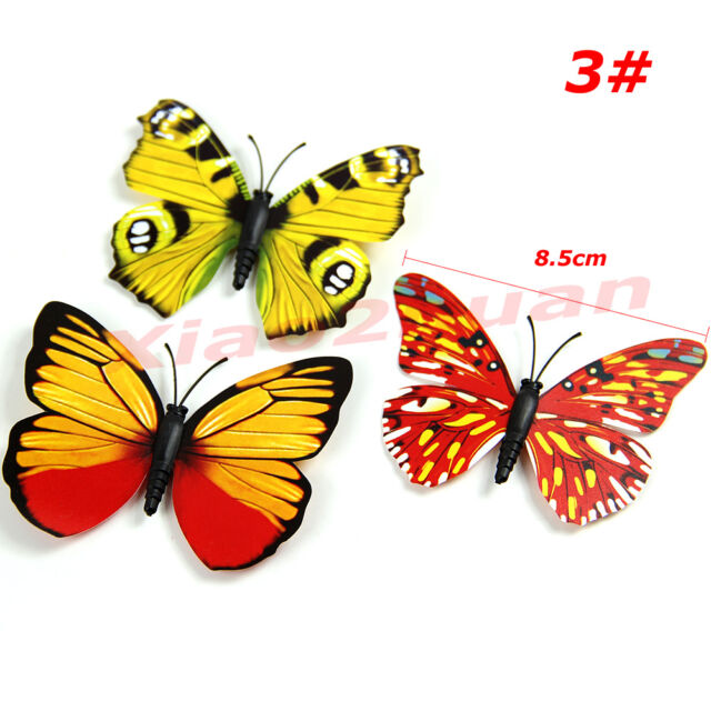 12Pcs Room Wall Decoration 3D Butterfly Fridge Magnets   Magnetic Sticke