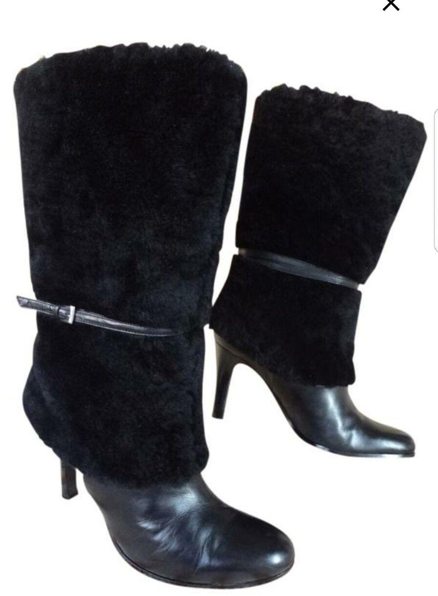 negozio di moda in vendita RALPH LAUREN LAUREN LAUREN donna stivali Dimensione 8.5  M LEATHER nero  migliore marca