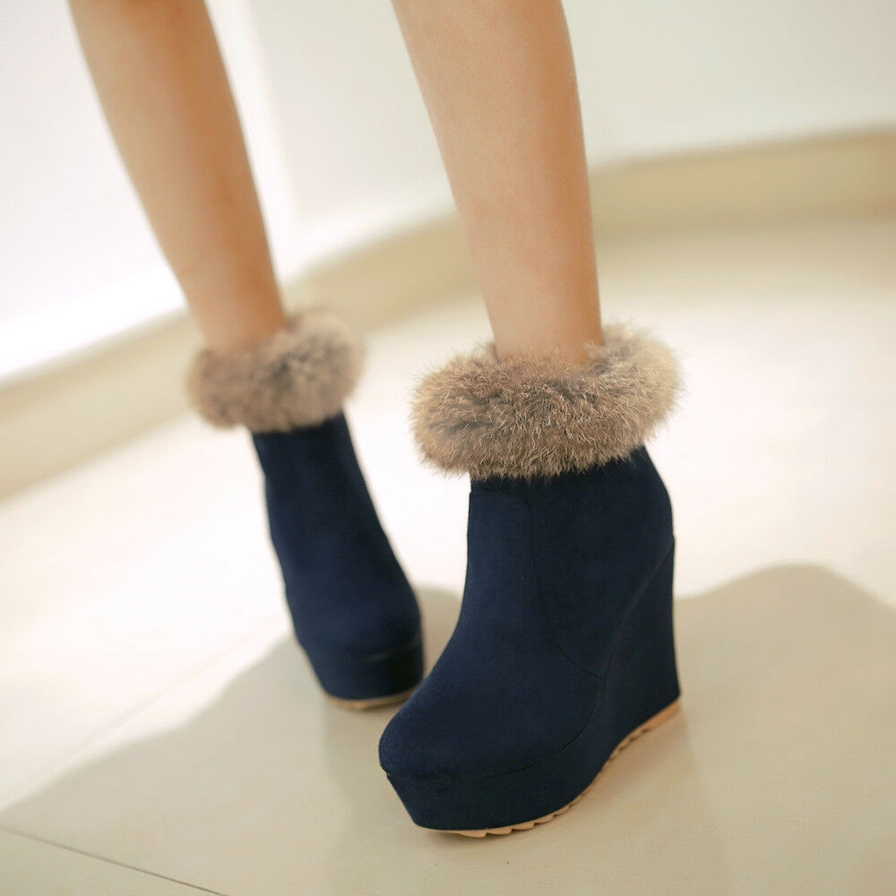 Women's Ankle Fur Boots Wedge High Heels Winter Round Toe Platform Casual shoes