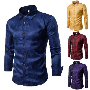 c57144187ac Details about Luxury Men's Slim Fit Dress Shirt Long Sleeve Stylish Formal  Casual T-shirt Top
