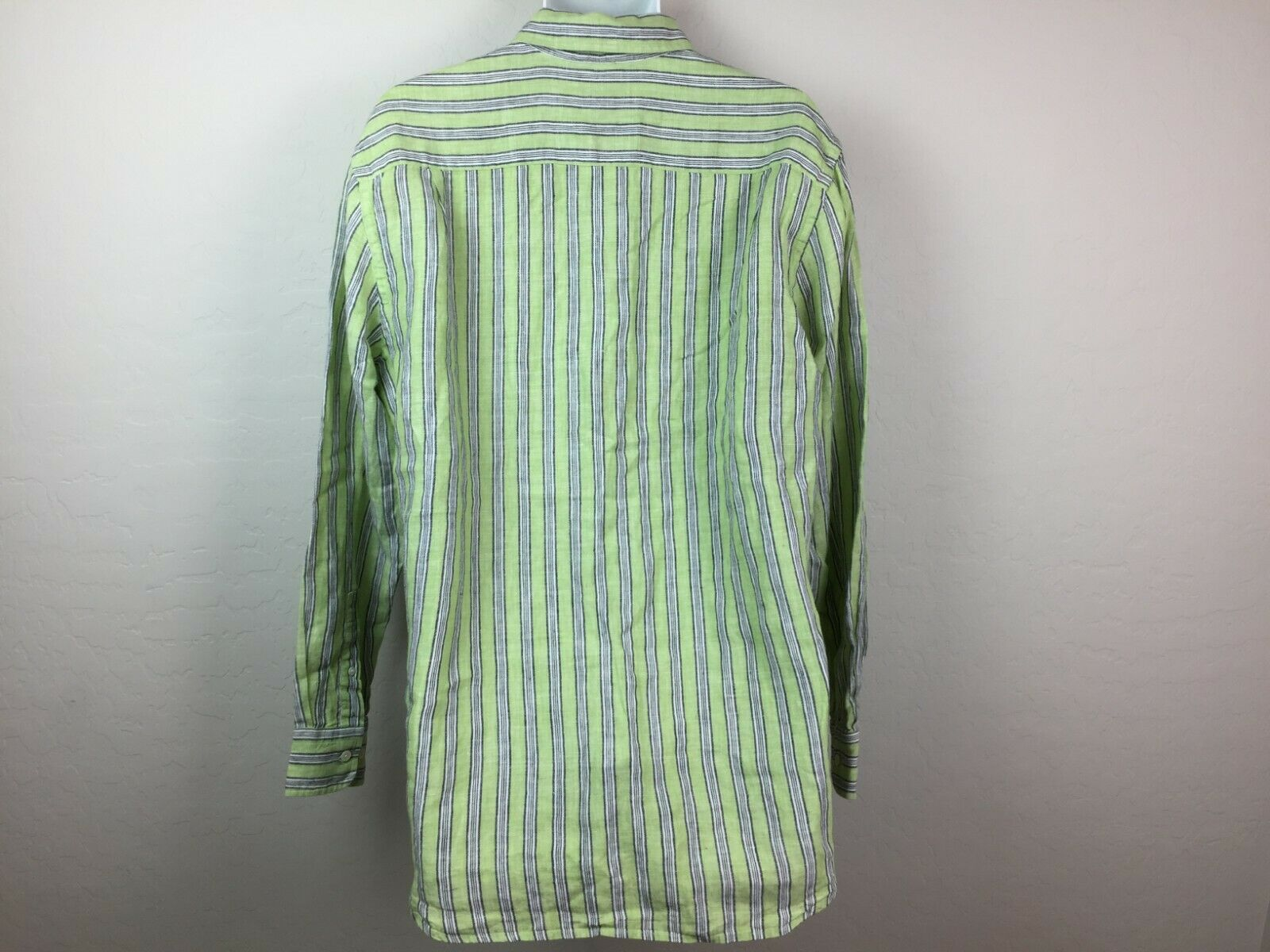 Express Men's Green Striped Button Up Shirt White… - image 10
