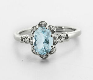 925-Sterling-Silver-Ring-Blue-Aquamarine-Natural-Vintage-Solitaire-Size-4-11