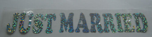 Hotfix iron on transfers Just Married in silver hologram size 19cmx3cm 8 colours