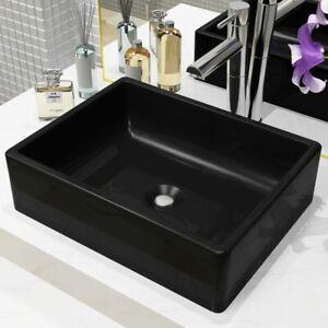 ... VidaXL Lavabo Ceramique Rectangulaire Noir Vasque Salle De