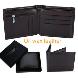 Genuine Leather Mens Bifold Wallet Slim Cowhide 8 Credit Card Slot ID Holder USA