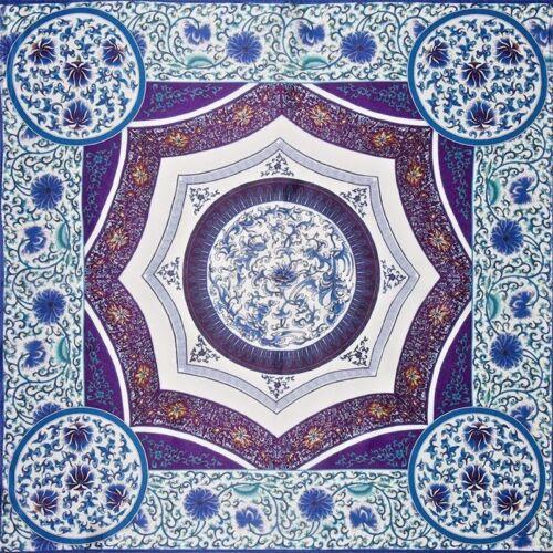 "100% Silk Geometric Floral 19"" X 19"" Square Bandanna Neckerchief Blue"