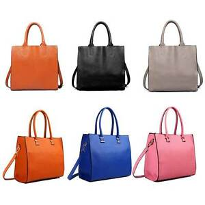 Ladies-Designer-Genuine-PU-Leather-Square-Shoulder-Tote-Handbag