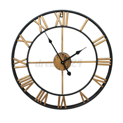 50cm Large Metal Skeleton Wall Clock Antique gold Home Decor Round Living Room