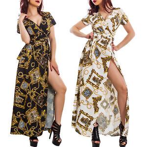 f223df976b83 Caricamento dell immagine in corso Vestito-lungo-abito-elegante -fantasia-barocca-spacco-laterale-