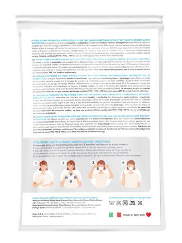 Relaxsan SET3 Mascherin tessuto batteriostatico lavabili riutilizzabili multiuso
