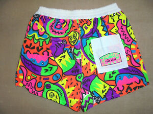 vintage CLUB AZUR shorts 80s new wave surf-club neon 80er Jahre hose Gr.M