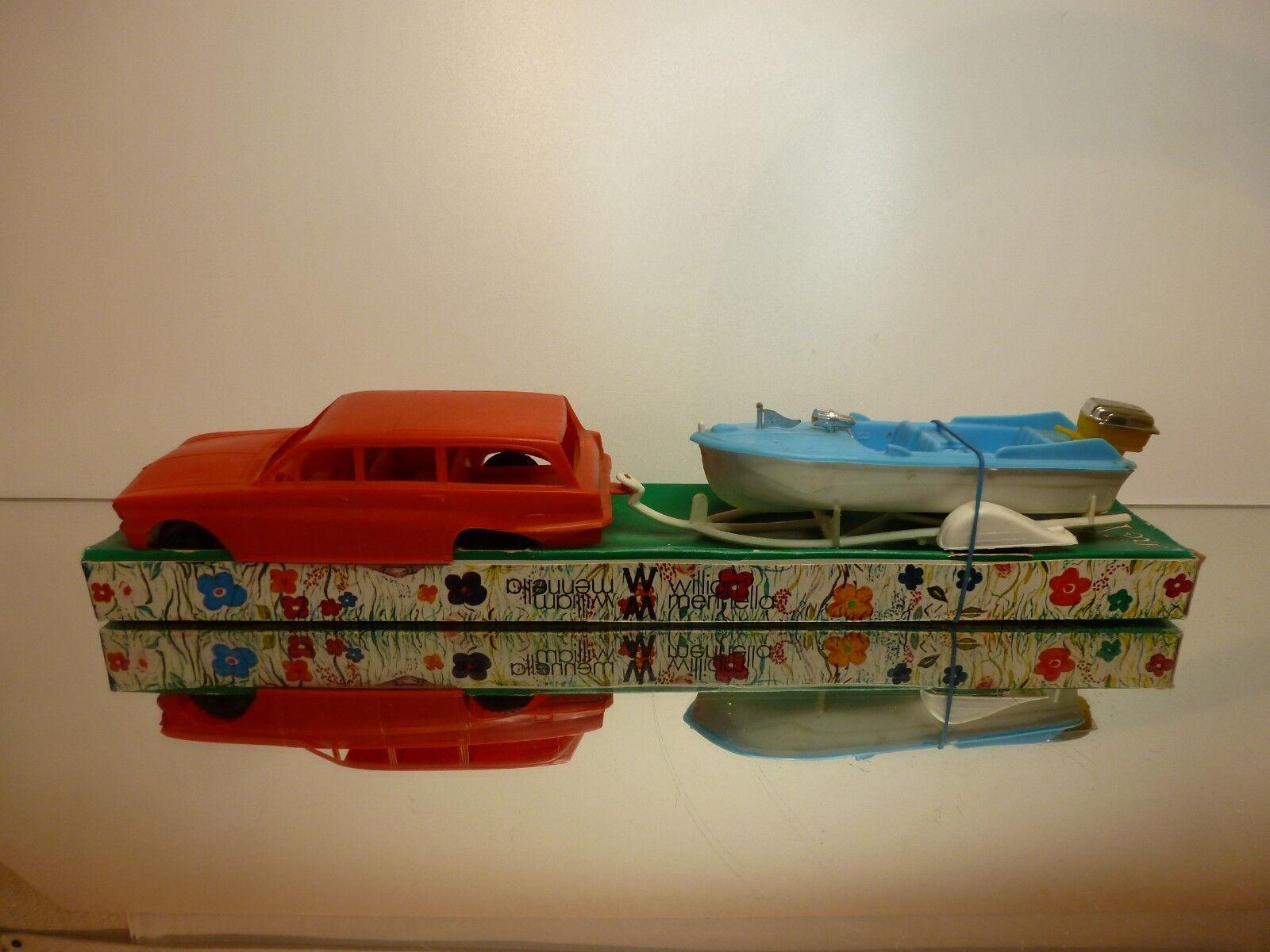 ITALIA VINTAGE PLASTIC STATION WAGON + BOAT + TRAILER -  L39.5cm RARE - GOOD