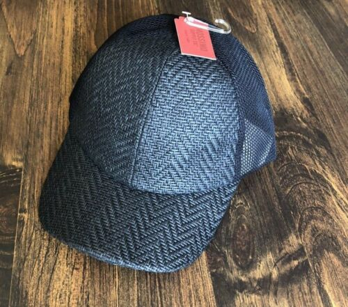 Adjustable New Baseball Cap Black Straw Like with Mesh