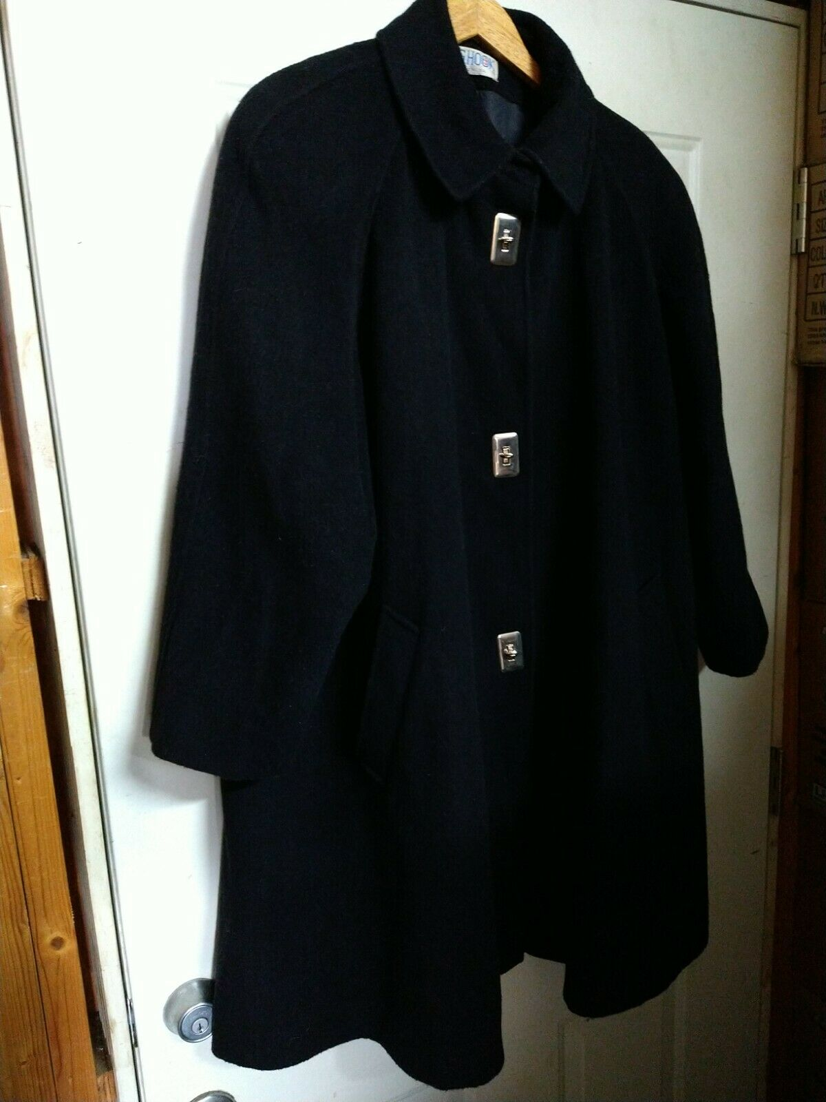 Vintage JG Hook Winter Wool Cashmere Exposed Stitching Coat Womens 12 Black 1980s 1990s Full Button Up