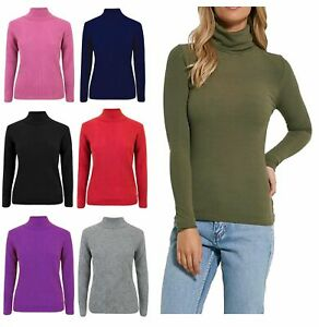 Ladies-Turtle-Neck-Women-Casual-High-Polo-Neck-Long-Sleeve-Ribbed-Jumper-Top