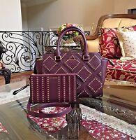 Nwt, Michael Kors Selma Diamond Grommet Leather Shoulder Handbag+wristlet $650