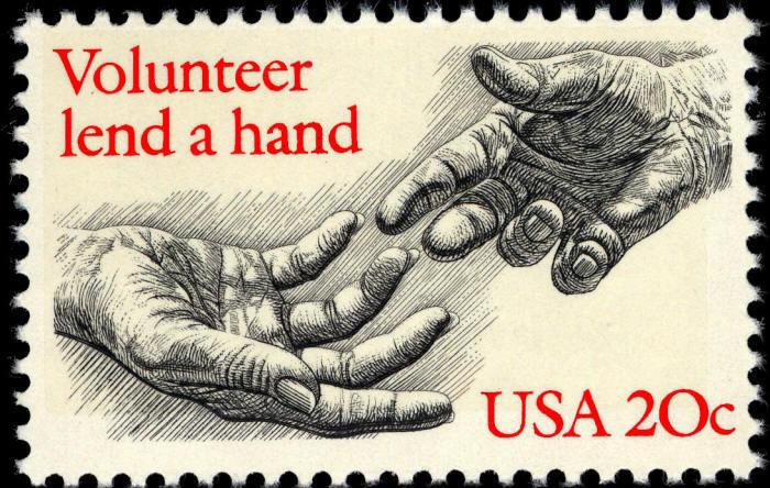 1983 20c Voluntarism, Volunteer Lend a Hand Scott 2039