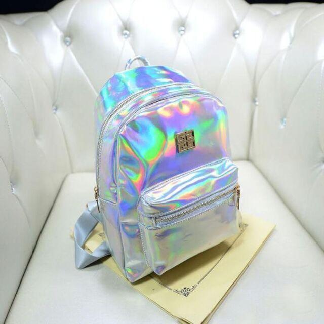 Fashion Women Girl Hologram Holographic Backpack Rucksack PU Leather Schoolbag