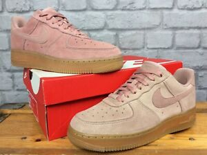 NIKE-LADIES-UK-6-EU-40-AIR-FORCE-1-LO-PARTICLE-PINK-LEATHER-TRAINERS-T