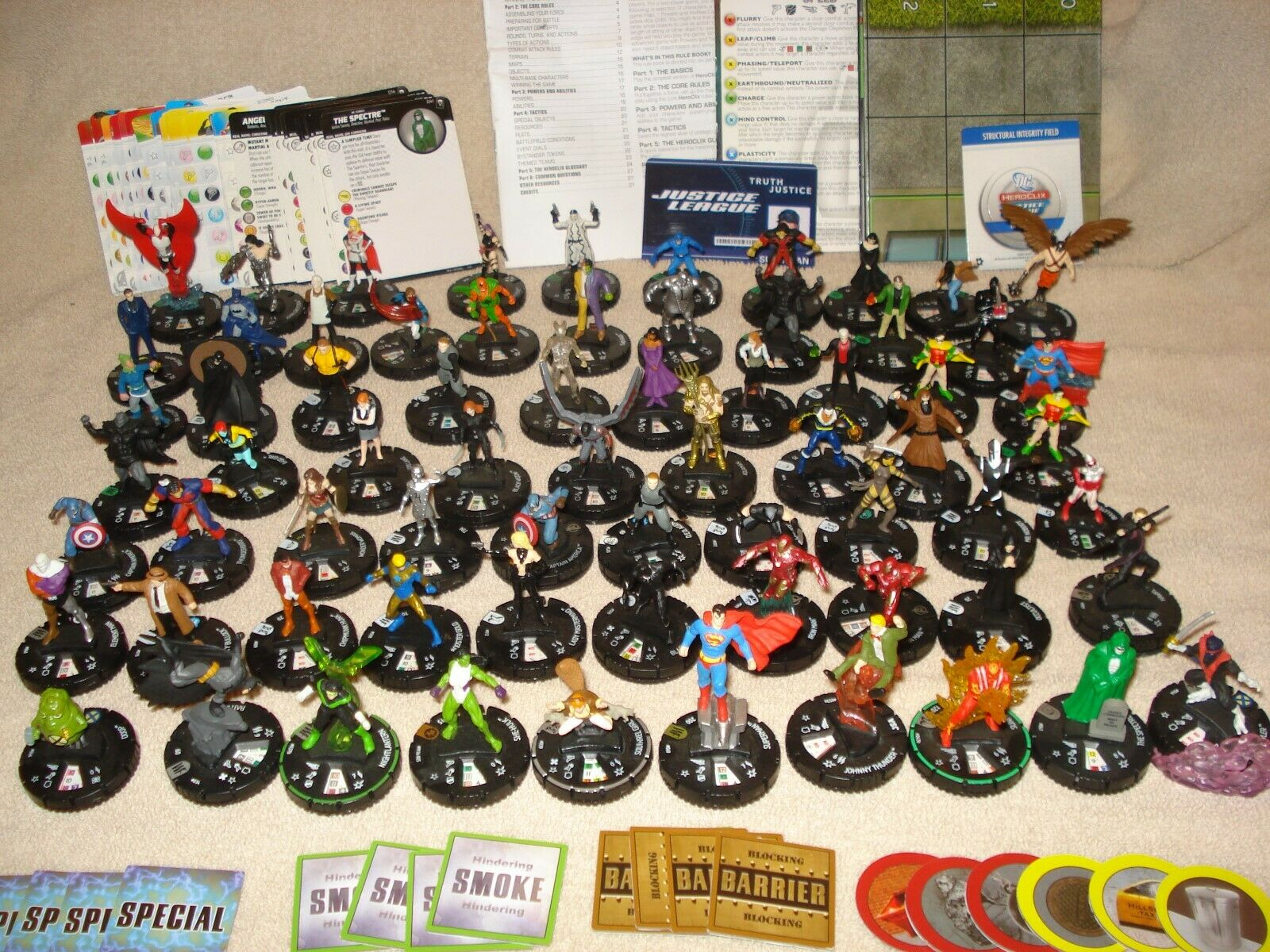 HEROCLIX MIXED LOT OF 69 W CARDS GAMEBOARD RULEBOOK GAME PEICES TAKAL@@K