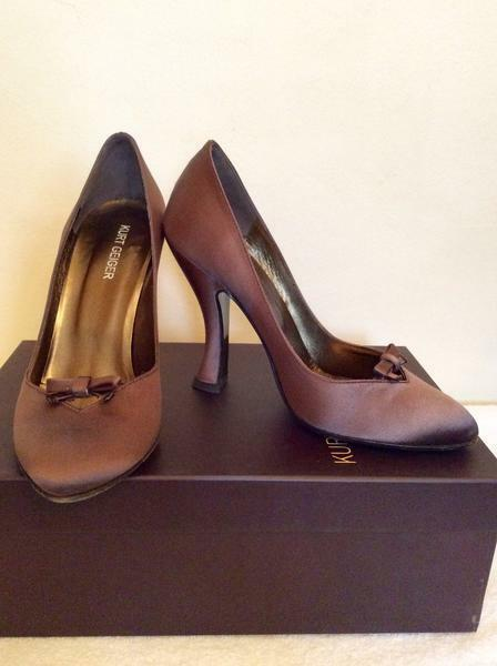 Kurt Geiger Geiger Geiger Hazel Marrón Topo Arco De Satén Adorno Tribunal Zapatos Talla 3.5 36 costo de  presentando toda la última moda de la calle