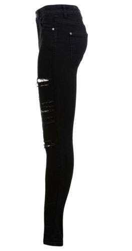 New Womens Ladies Front Ripped Black Denim Jeans Sizes 6-14