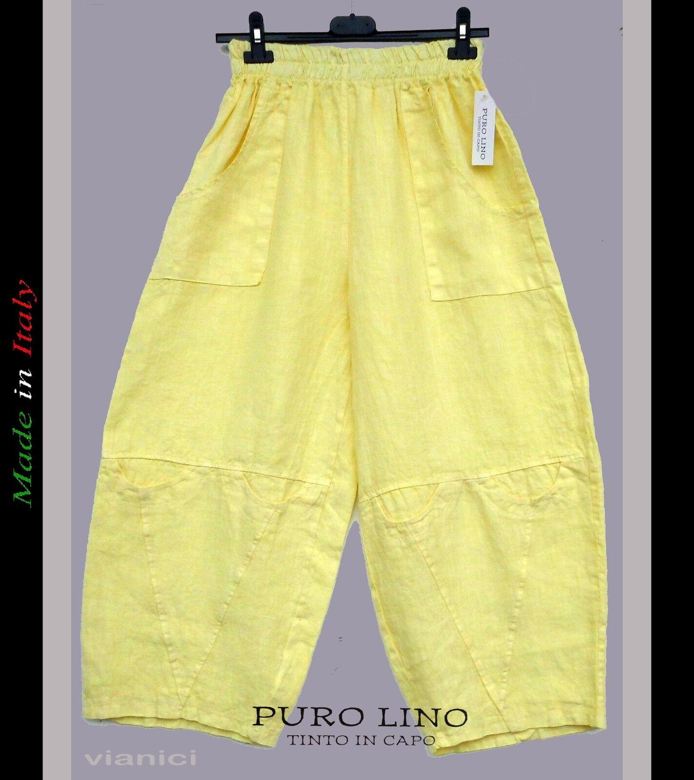 7 8 Leinen Hose Linen Trousers Hose Pantalon gelb Lagenlook M 40-42