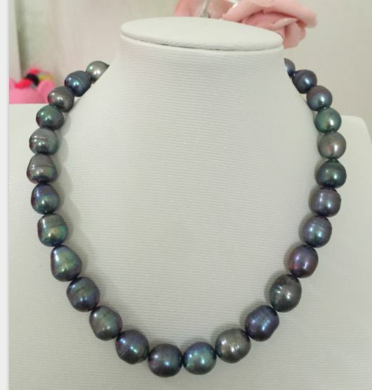 ca1232c5e Tahitian 11-12mm Peacock Green Pearl Necklace 18inch 14k for sale online |  eBay