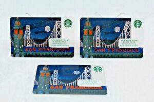 Starbucks Coffee 2014 Gift Card San Francisco Bridge Zero Balance Set of 3