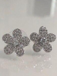 Round-Diamond-Cluster-Pave-Flower-Design-Stud-Earrings-14K-White-Gold-Finish