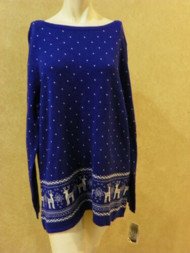 Karen Scott Cotton Reindeer Sweater Blue /_/_/_/_/_/_/_/_/_/_/_/_/_ R25A2